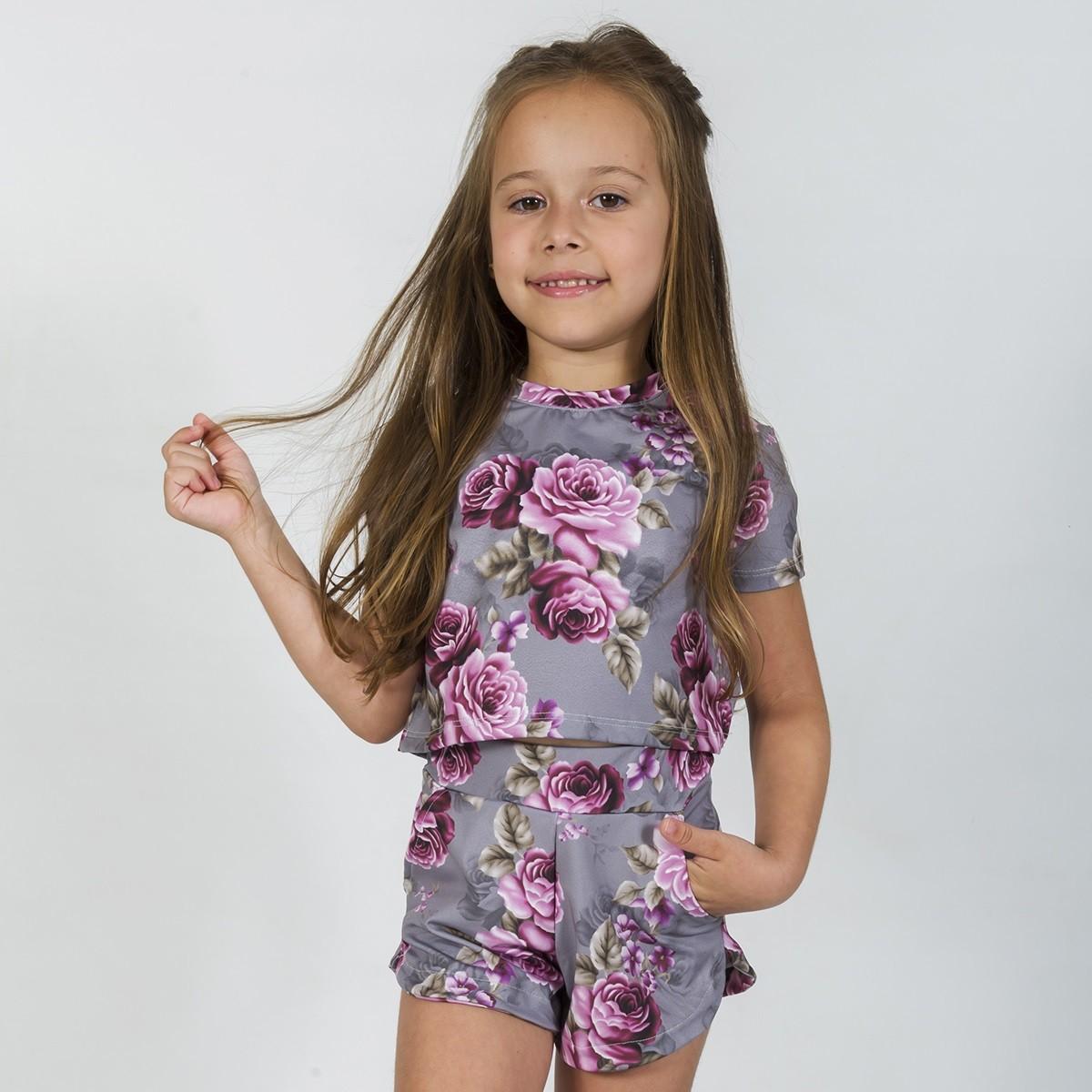 Conjunto Infantil Bomber Rosas com Cinza