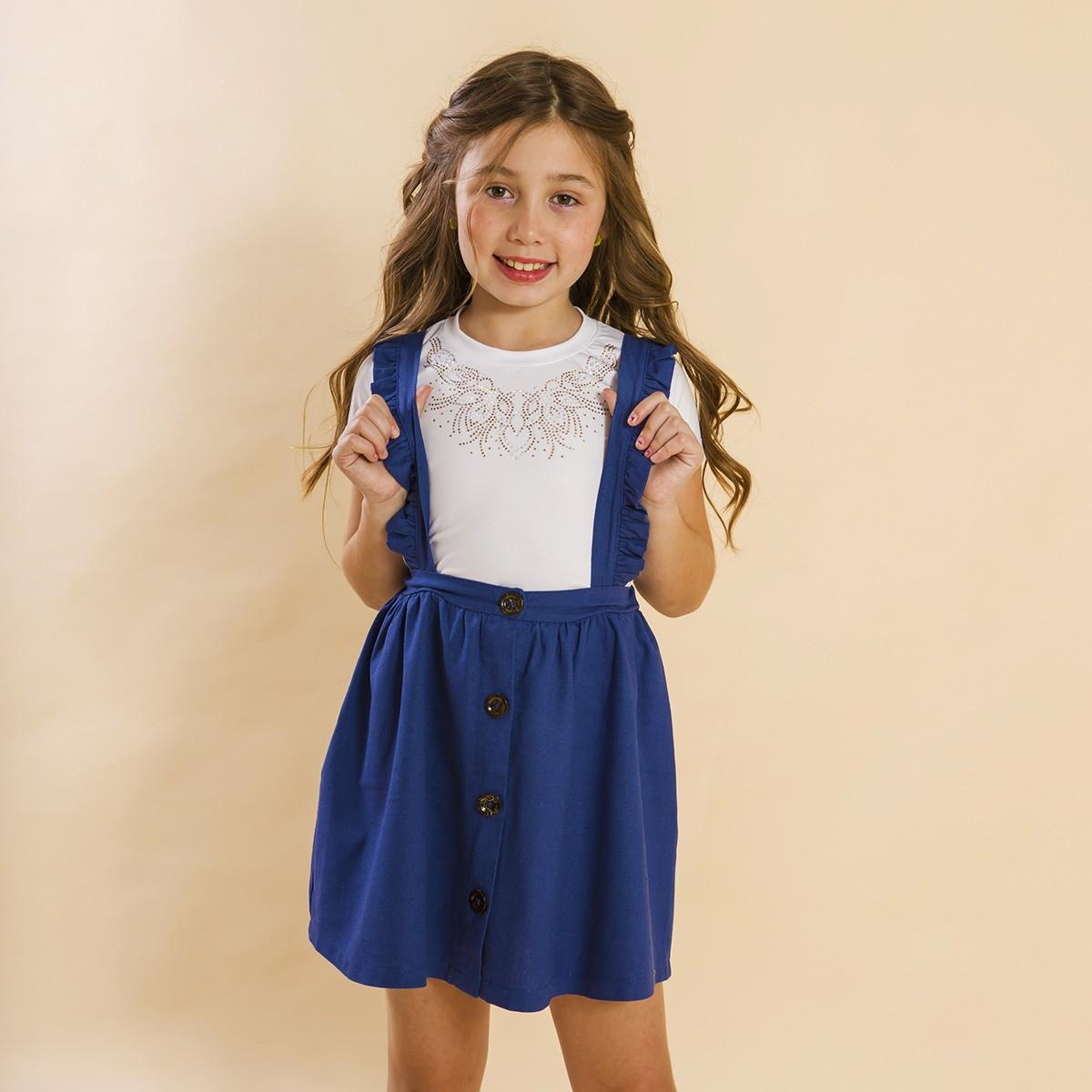 Conjunto Infantil Salopete Linho Azul Ano Novo