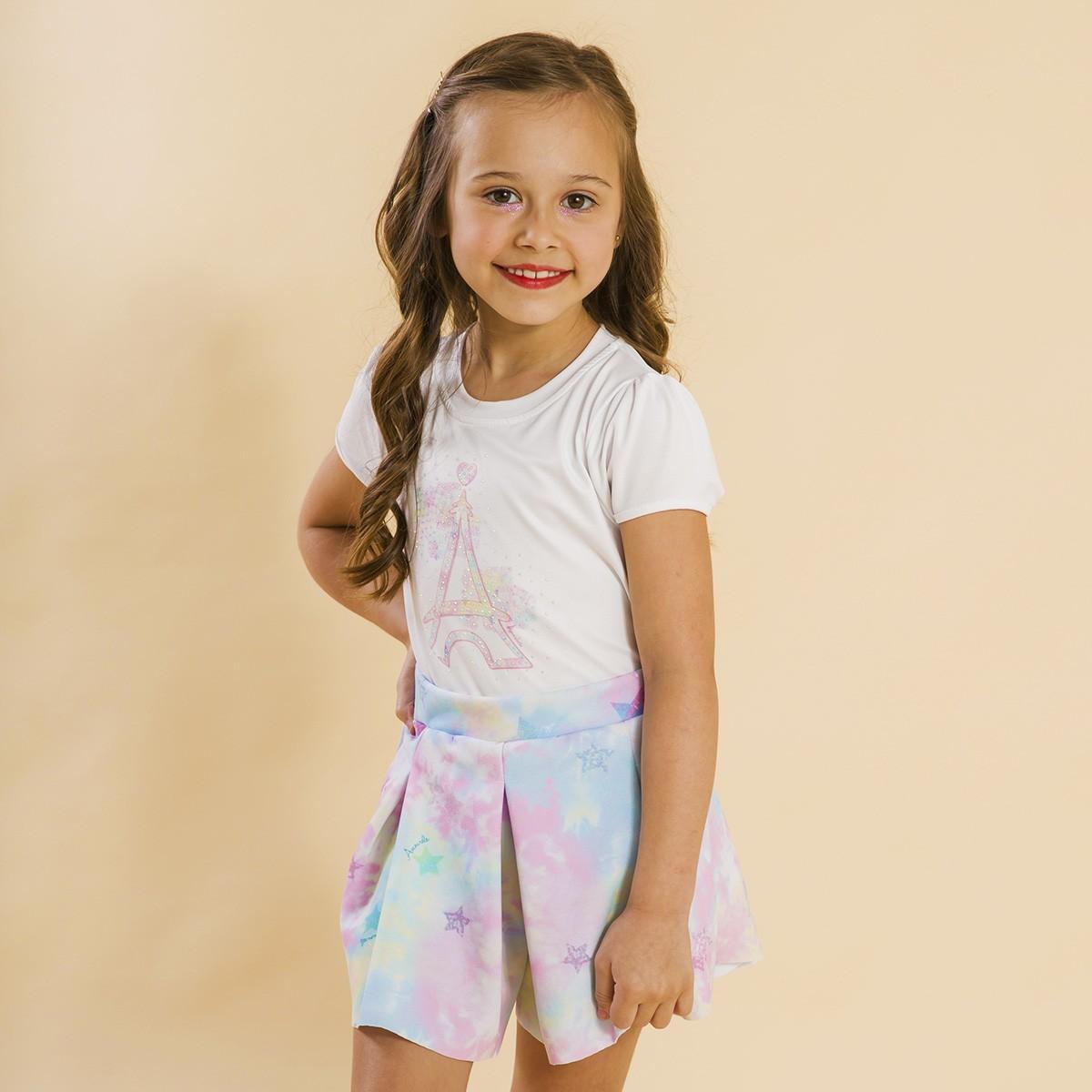 Conjunto Infantil Shorts Malha e Blusa Tie Dye Rosa