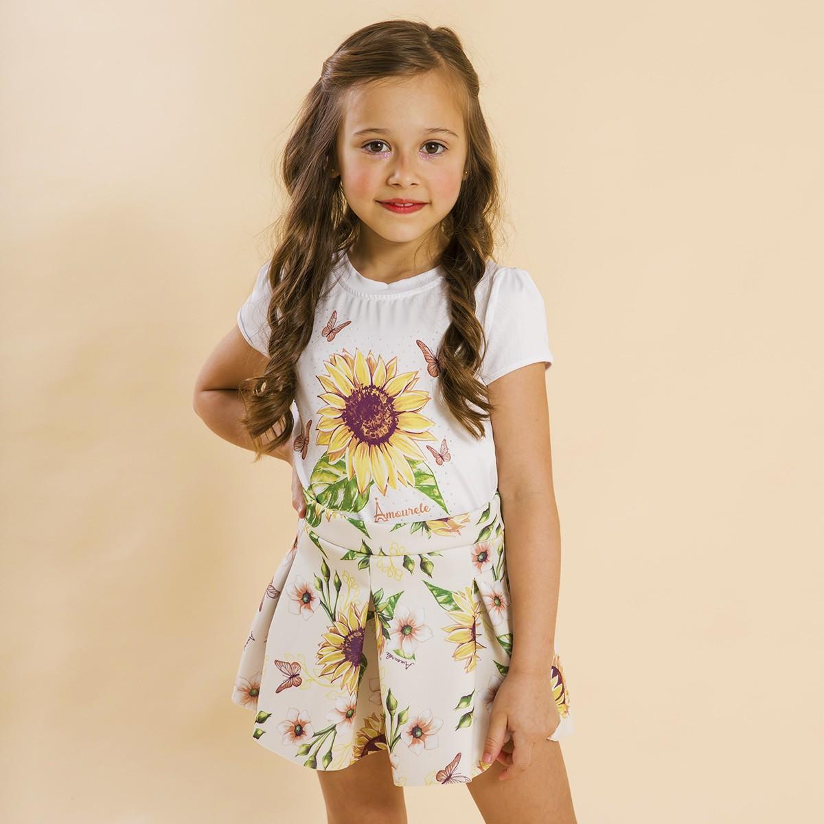 Conjunto Infantil Shorts Malha e Blusa Girassol