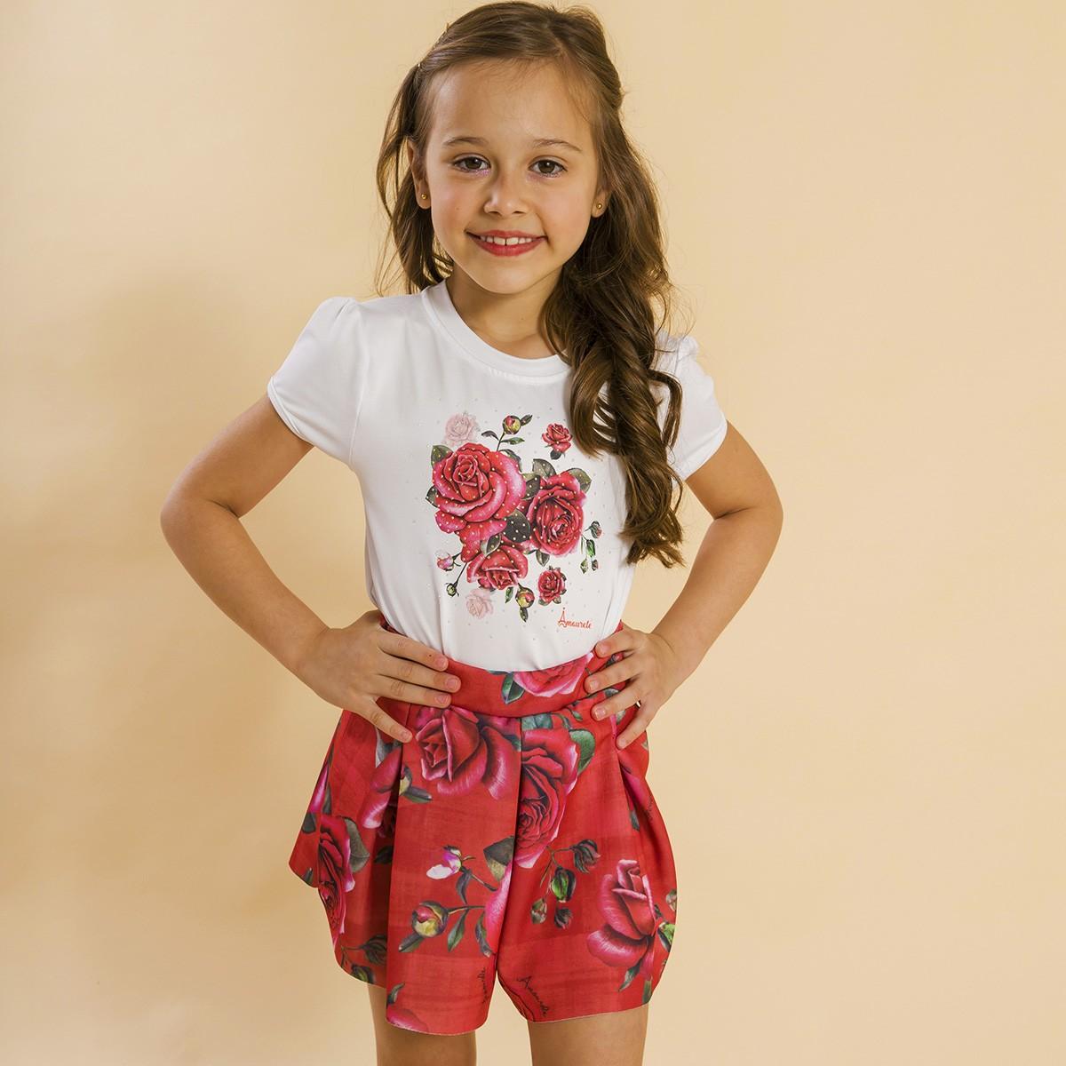 Conjunto Infantil Shorts Malha e Blusa Rosas Vermelho