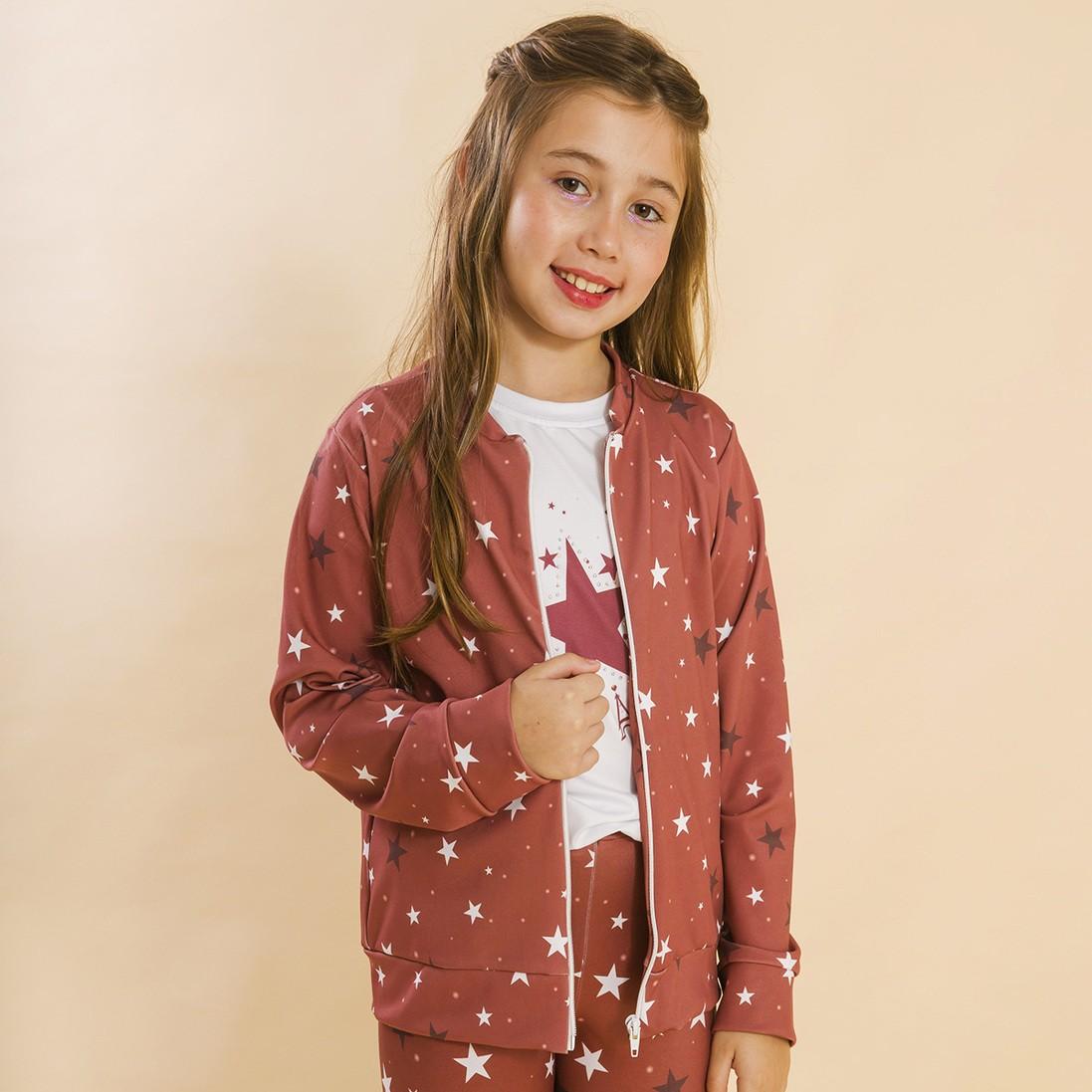 Jaqueta com Zíper Estrelas Vermelho