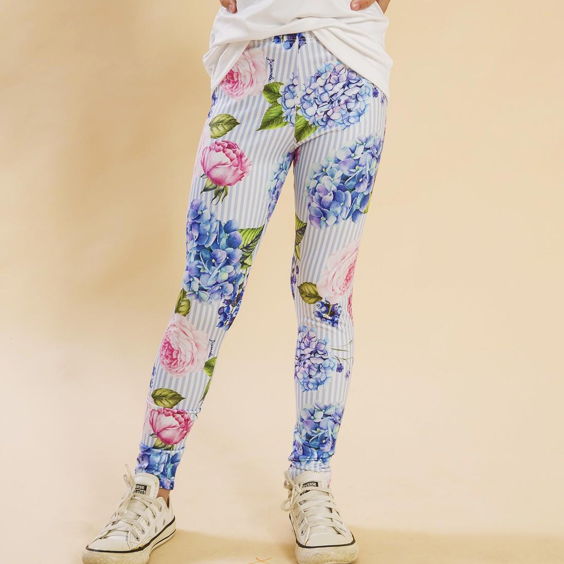 Legging Comprida Listras Azul Floral