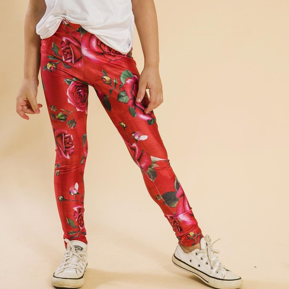 Legging Comprida Rosas Vermelho