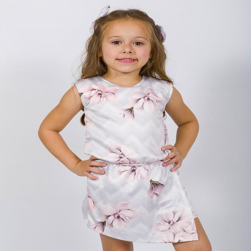 Macaquinho Infantil Chevron Tulipa Cinza