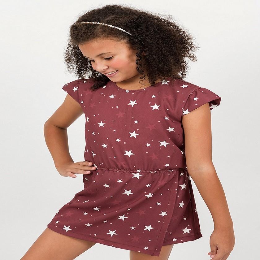 Macaquinho Infantil Estrelas Vermelho