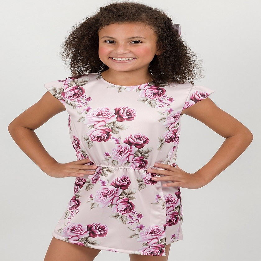 BAZAR - Macaquinho Infantil Rosas Rosa
