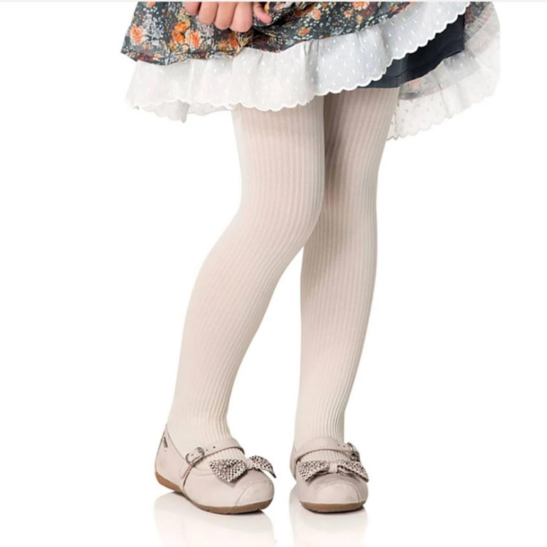 Meia Calça Fina Infantil Canelada Fio 70 Branco