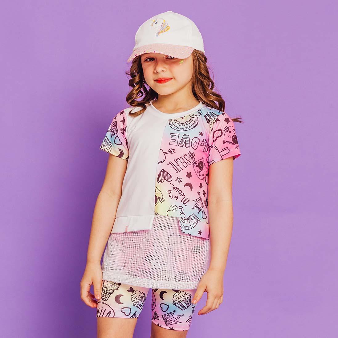 PRÉ-VENDA  - Conjunto Infantil Blusa e Short Ciclista Estampa Tie dye Letras