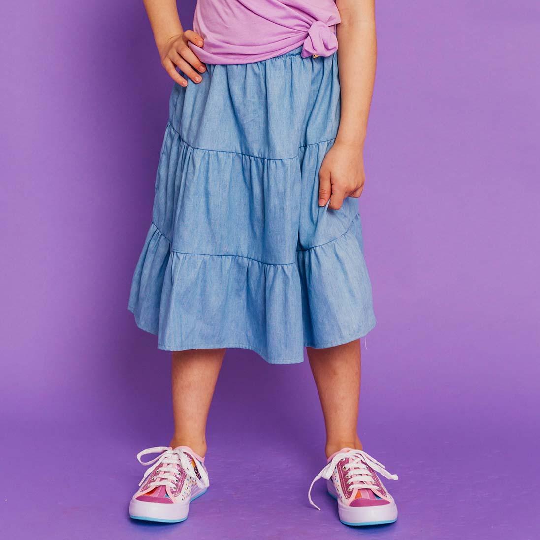 PRÉ- VENDA - Saia Midi Camadas Tricoline Jeans