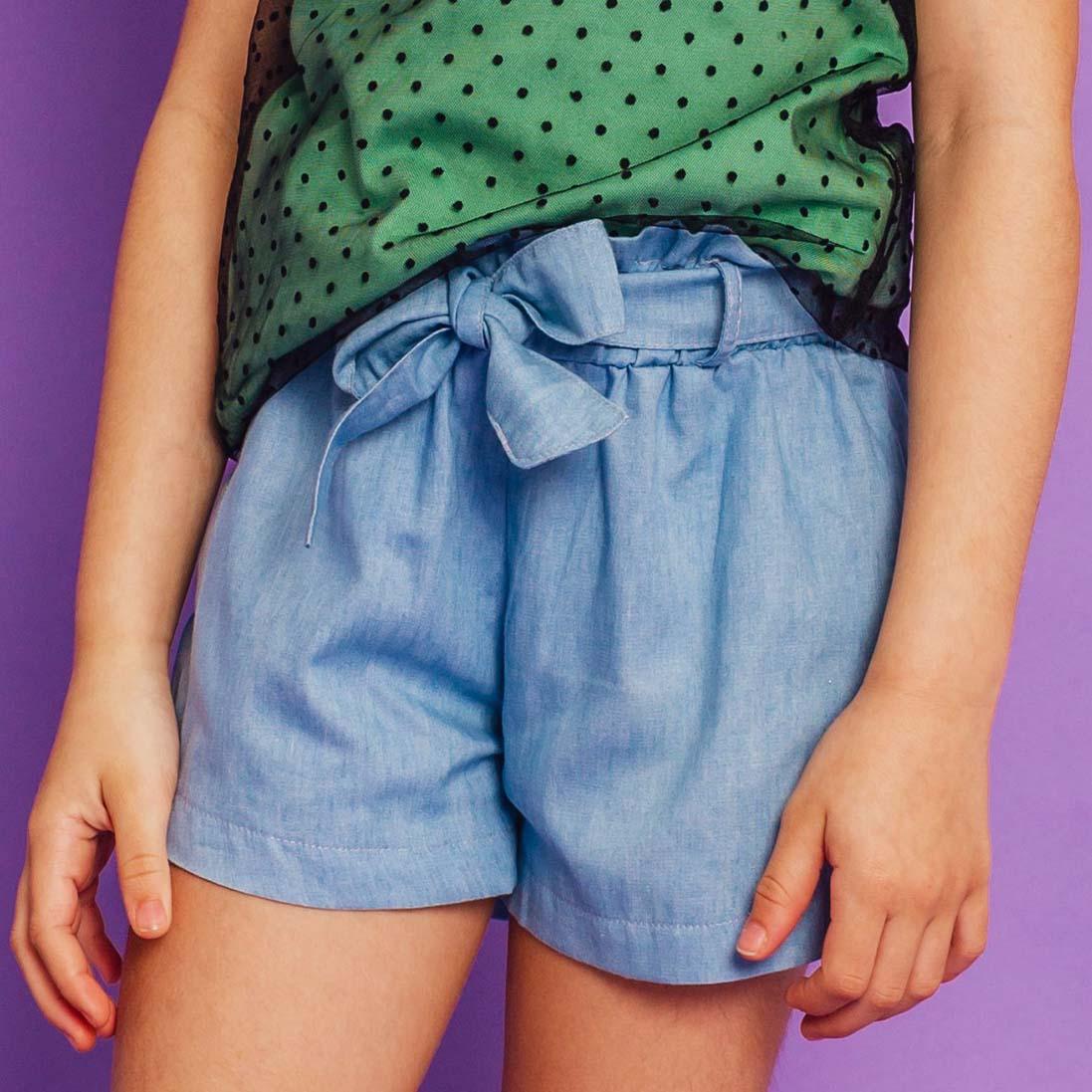 PRÉ- VENDA - Short Clochard Tricoline Jeans