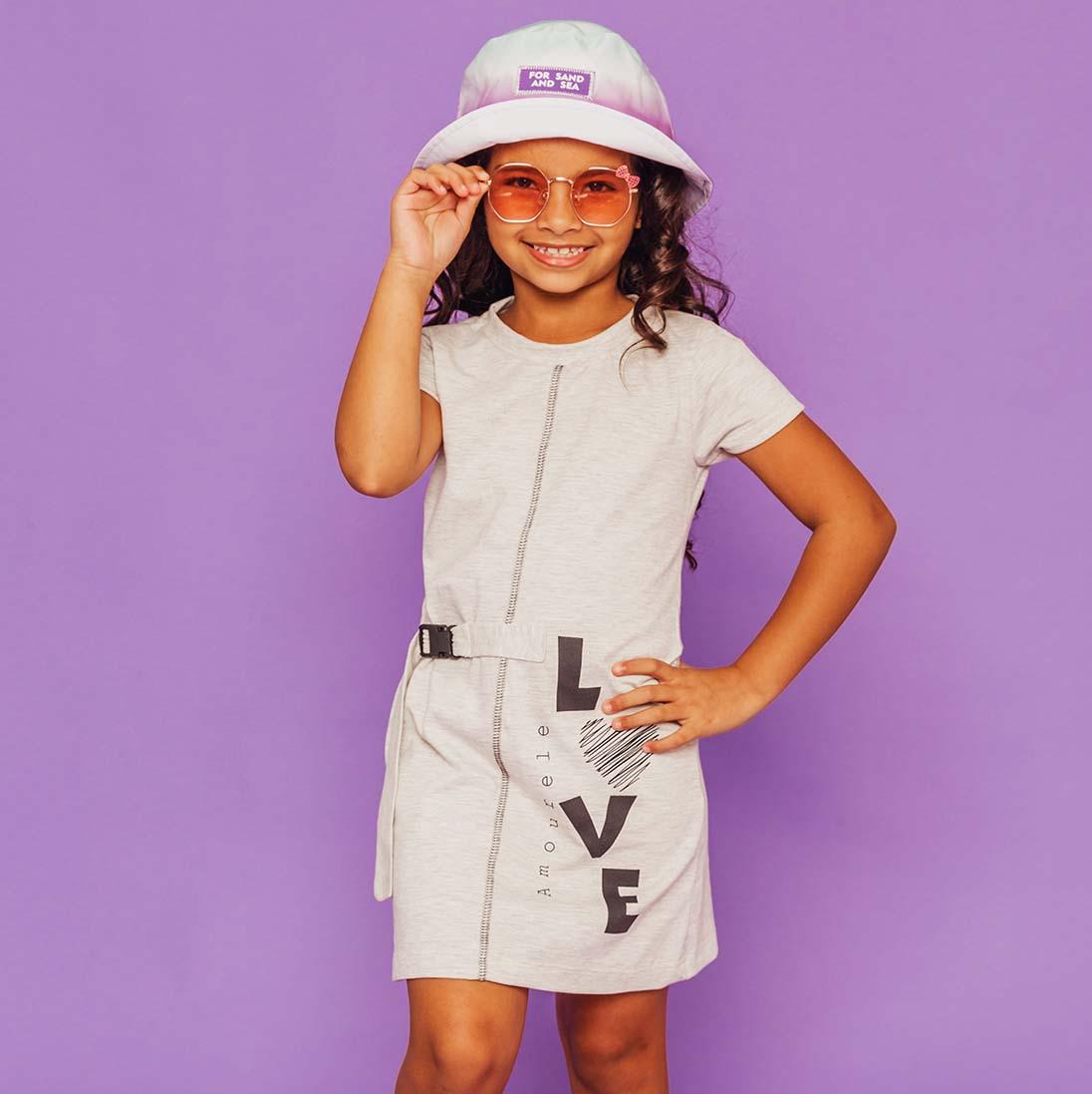 PRÉ-VENDA - Vestido Malha Estampa Lateral Cinza