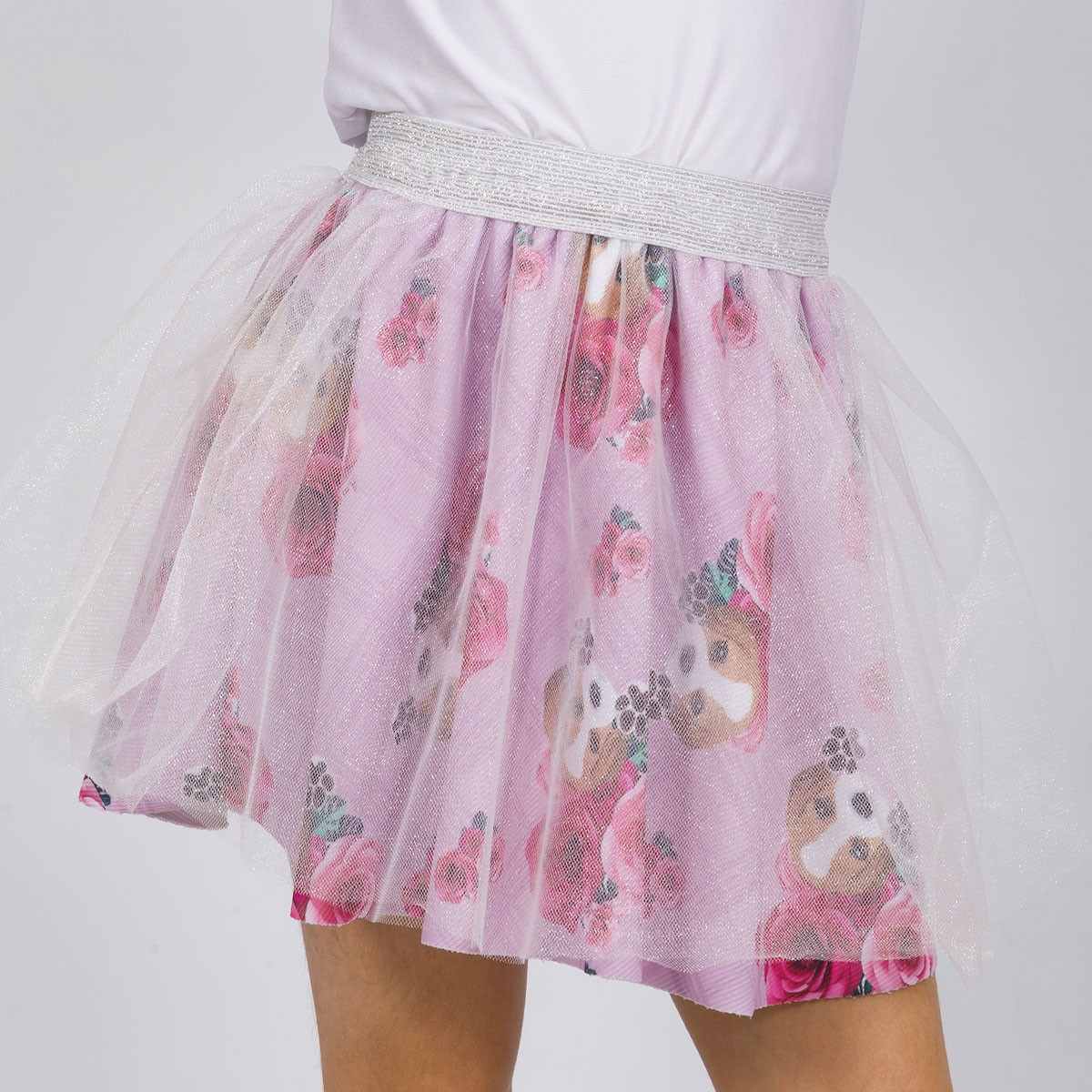 Saia Infantil Bailarina Beagle Xadrez Rosa