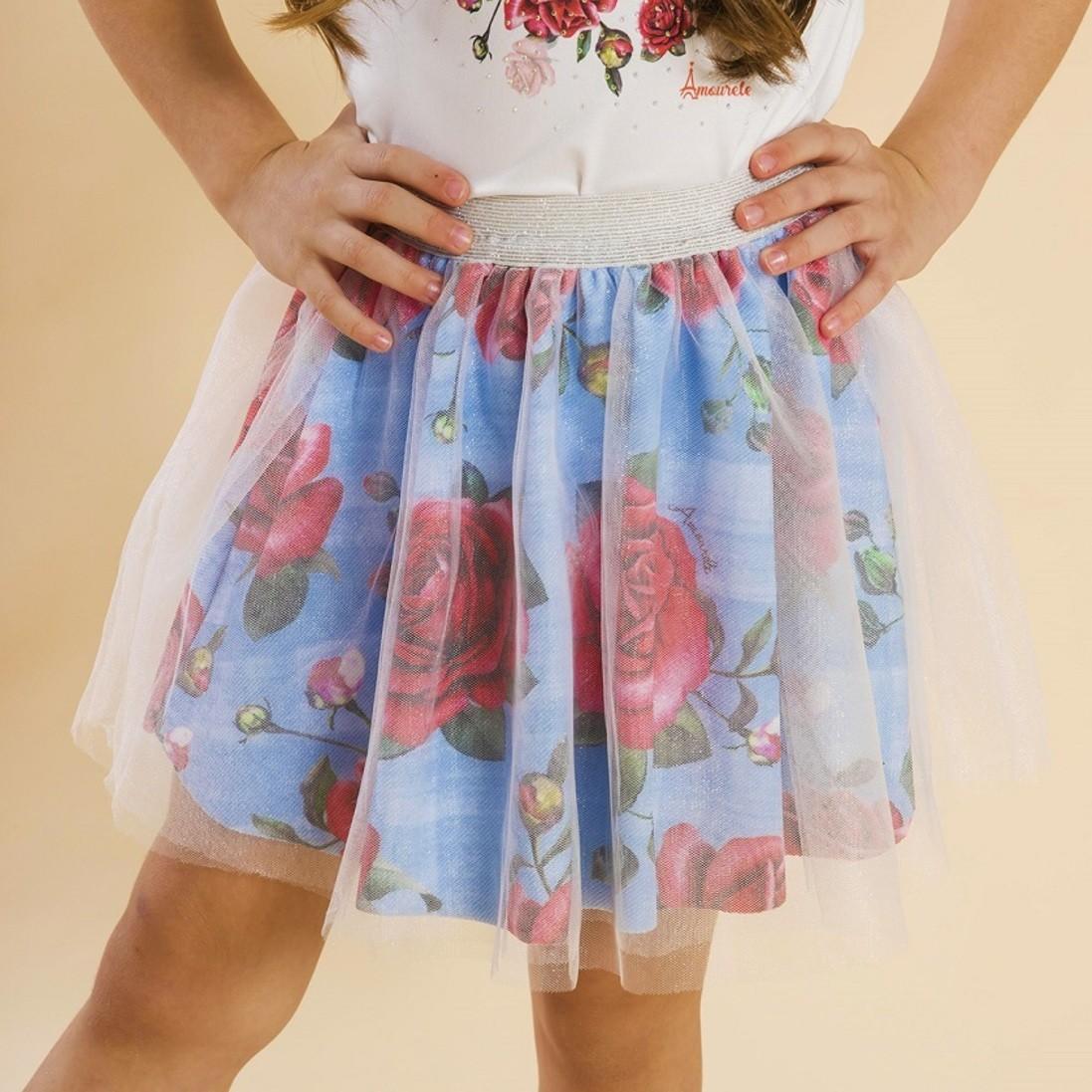 Saia Infantil Bailarina Rosas Azul