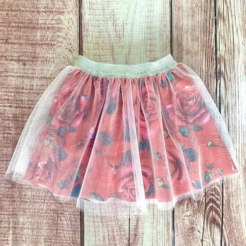 Saia Infantil Bailarina Rosas Vermelho