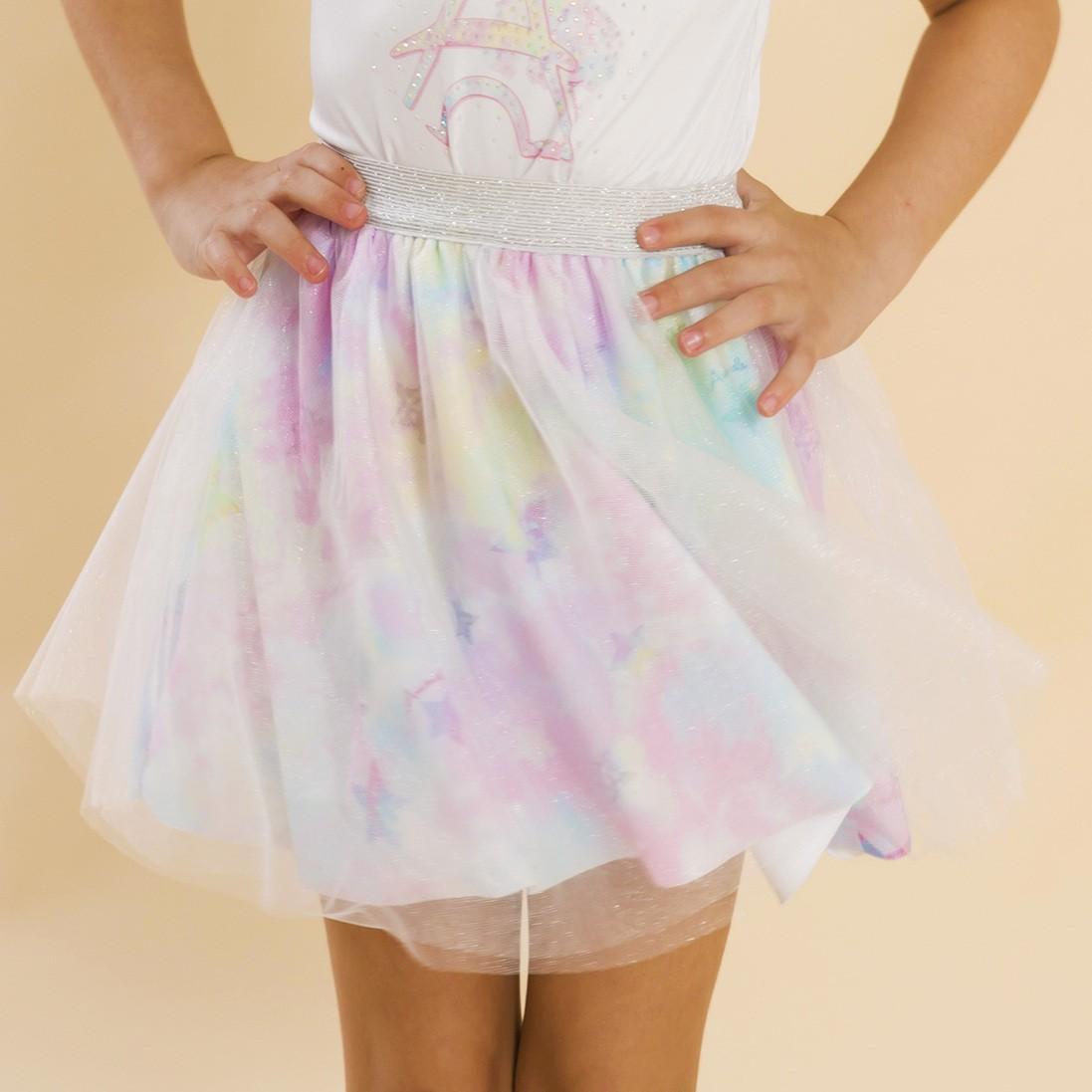 Saia Infantil Bailarina Tie Dye Rosa
