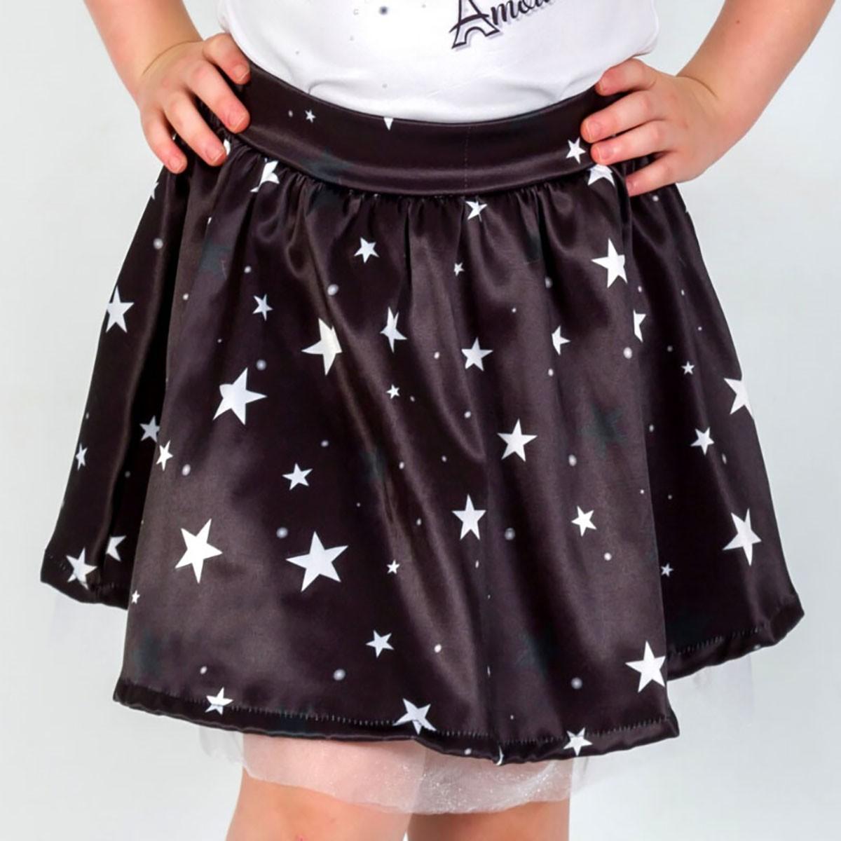 Saia Infantil Estrelas Preto