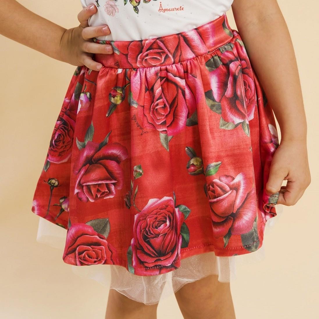 Saia Infantil Rosas Vermelho