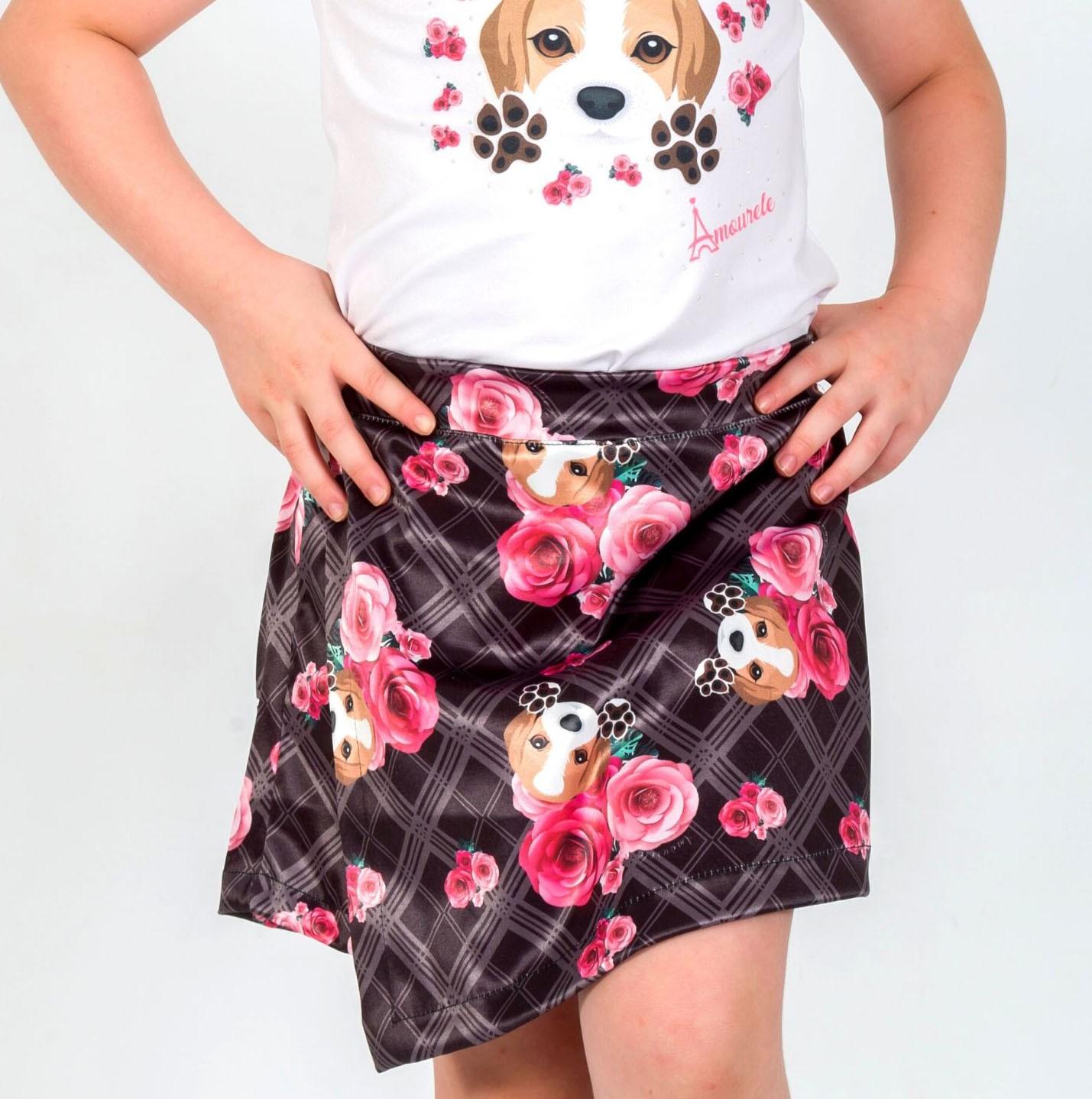 Short Saia Infantil Beagle Xadrez Preto