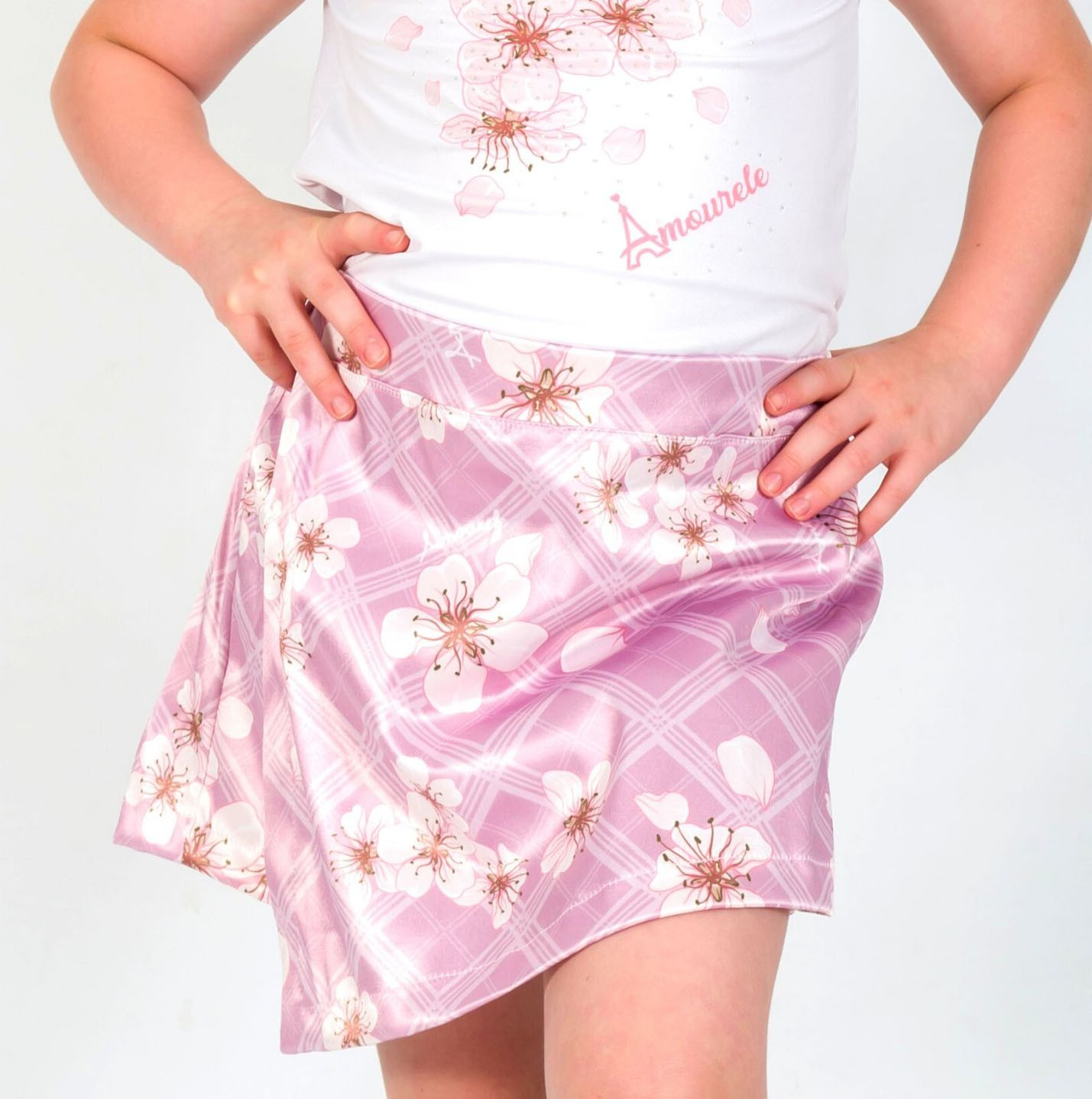 Short Saia Infantil Xadrez Flores Rosa