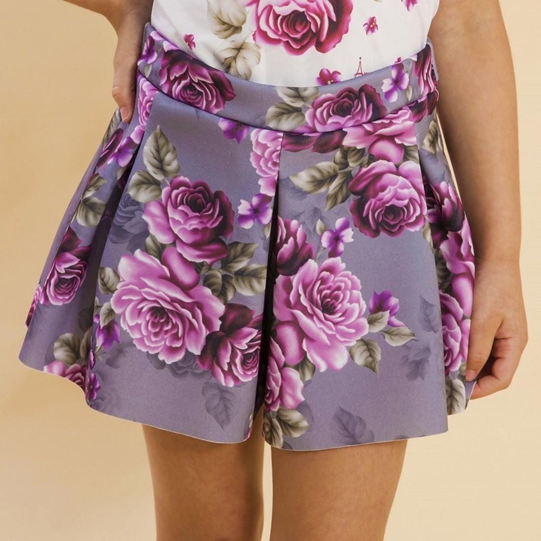Shorts Malha Infantil Rosas Cinza