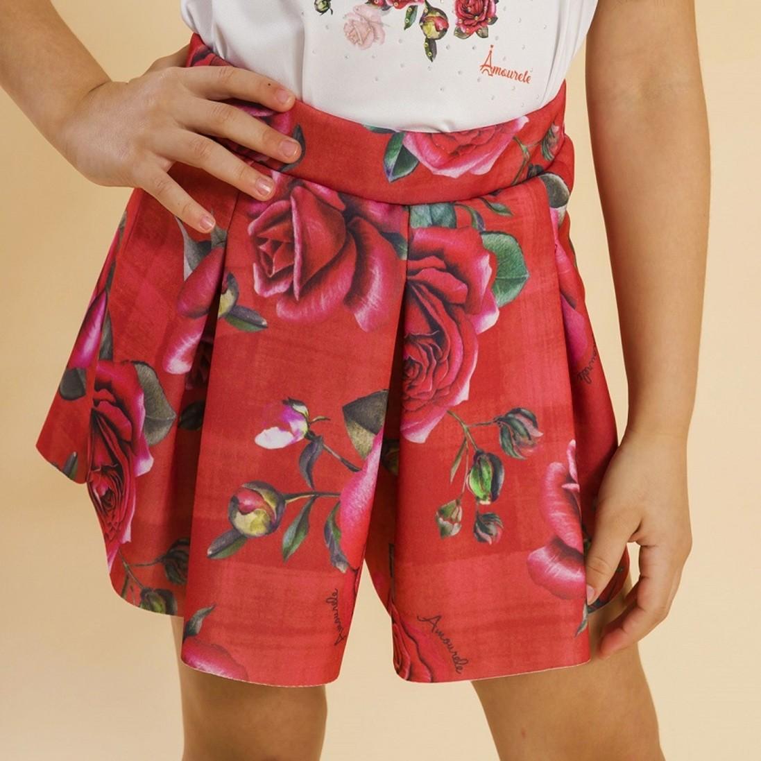 Shorts Malha Infantil Rosas Vermelho