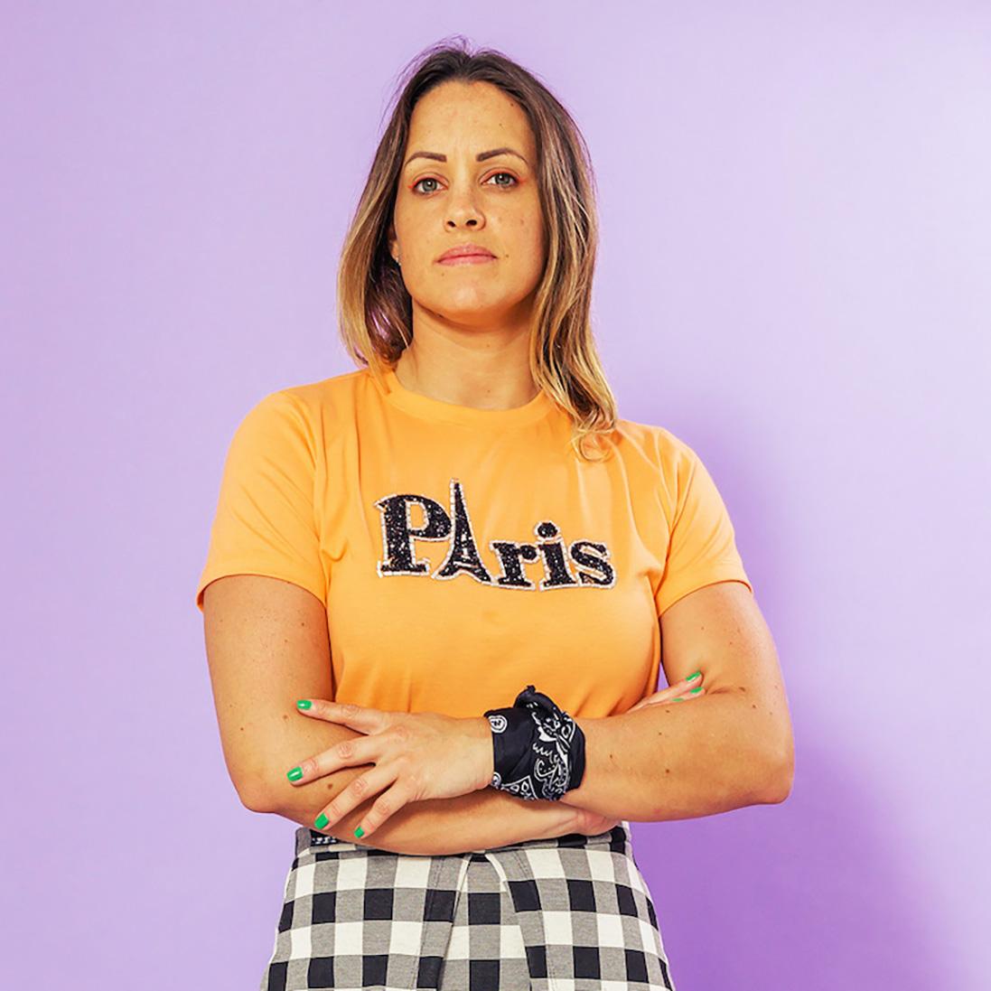 T-shirt Adulta Paris Laranja