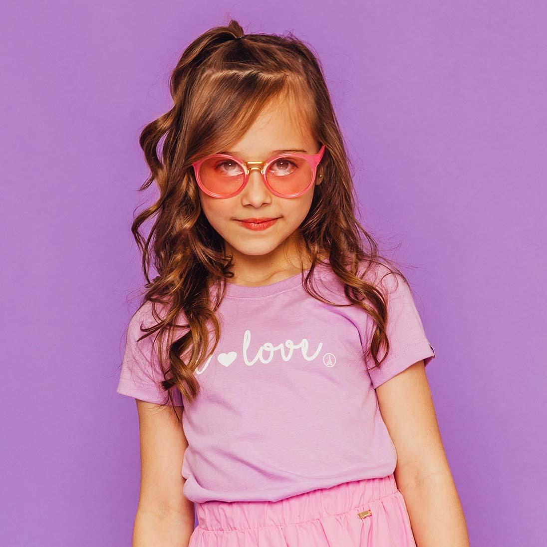 T-shirt Estampada I'love Lilás