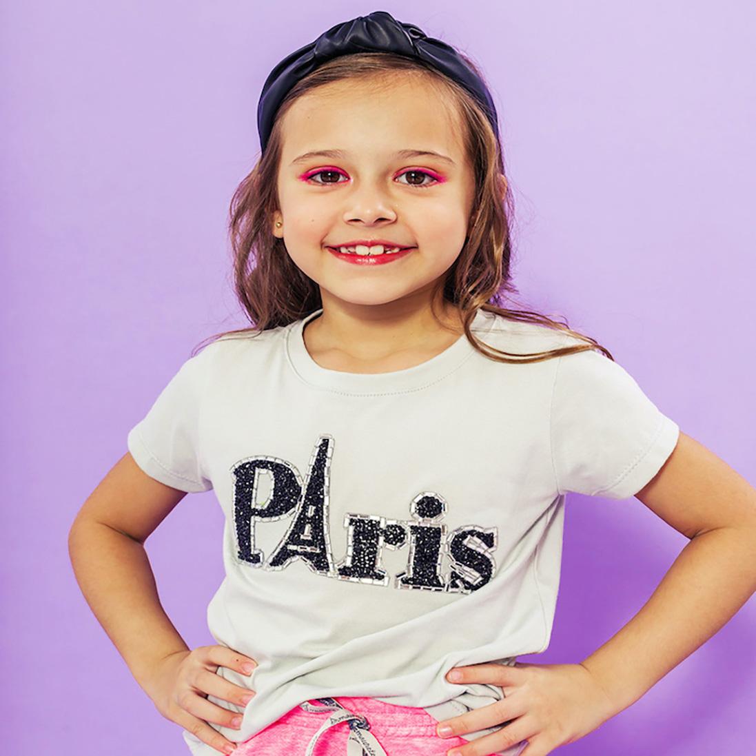 T-shirt Infantil Paris Cinza