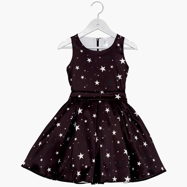 Vestido Infantil Estrelas Preto