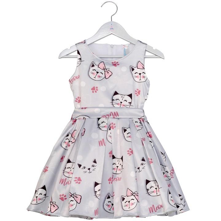 Vestido Infantil Gatinhos Cinza