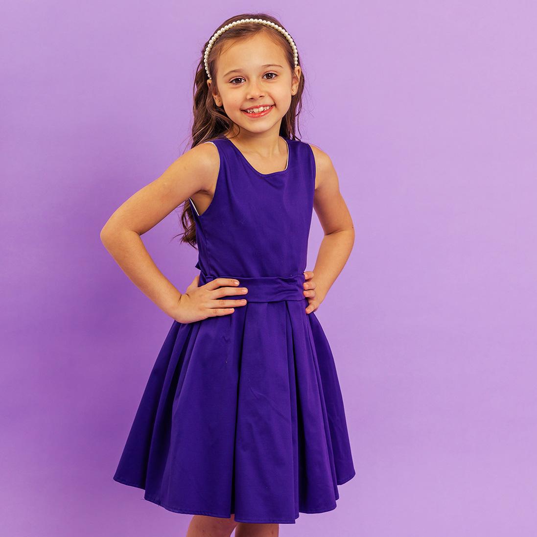 Vestido Infantil Liso Azul