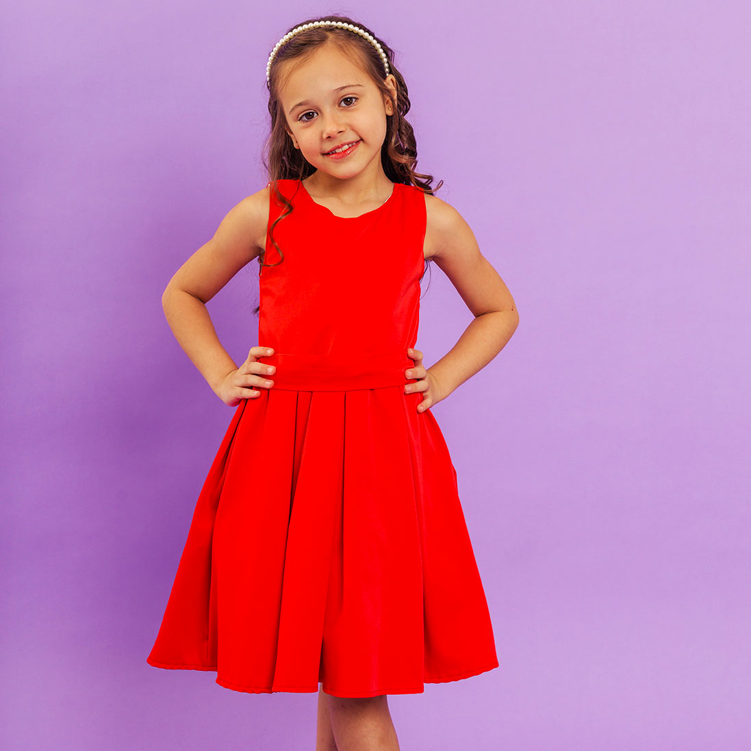 Vestido Infantil Liso Vermelho