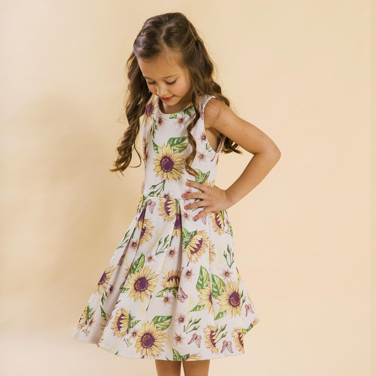 Vestido Infantil Malha Girassol