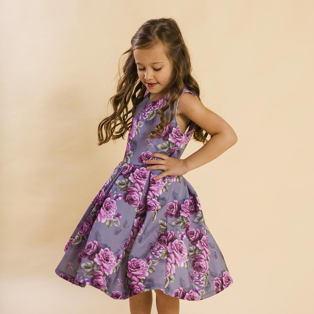 Vestido Infantil Malha Rosas Cinza