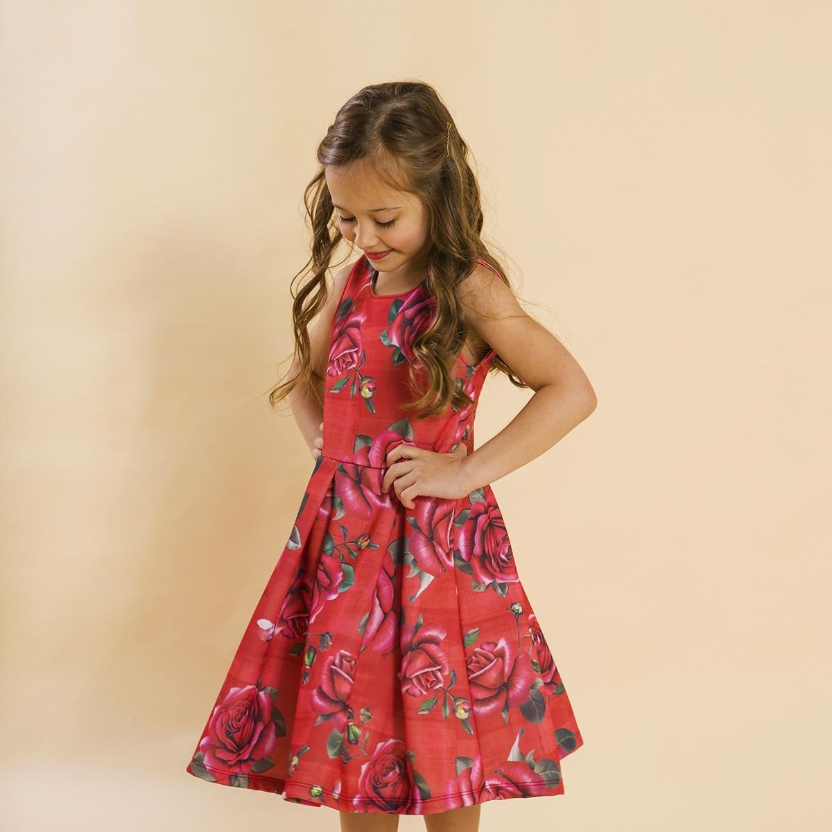 Vestido Infantil Malha Rosas Vermelho