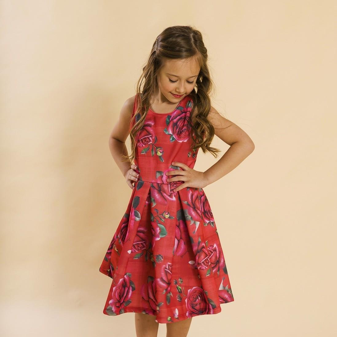 BAZAR - Vestido Infantil Malha Rosas Vermelho