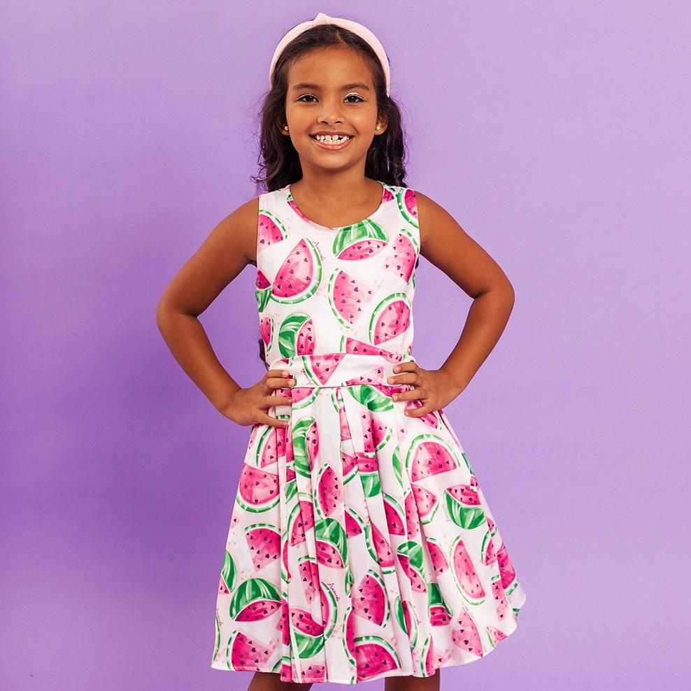 Vestido Infantil Melancia Rosa