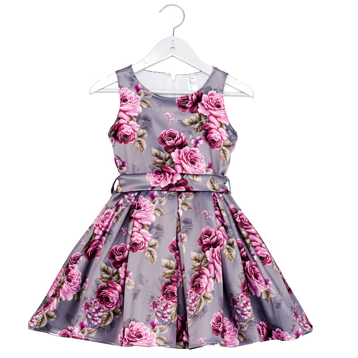 Vestido Infantil Rosas Cinza