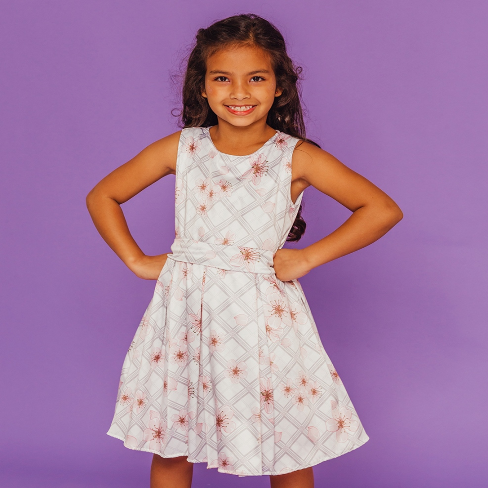 Vestido Infantil Xadrez Flores Cinza