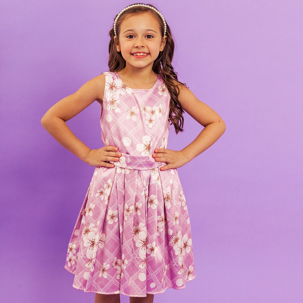 Vestido Infantil Xadrez Flores Rosa