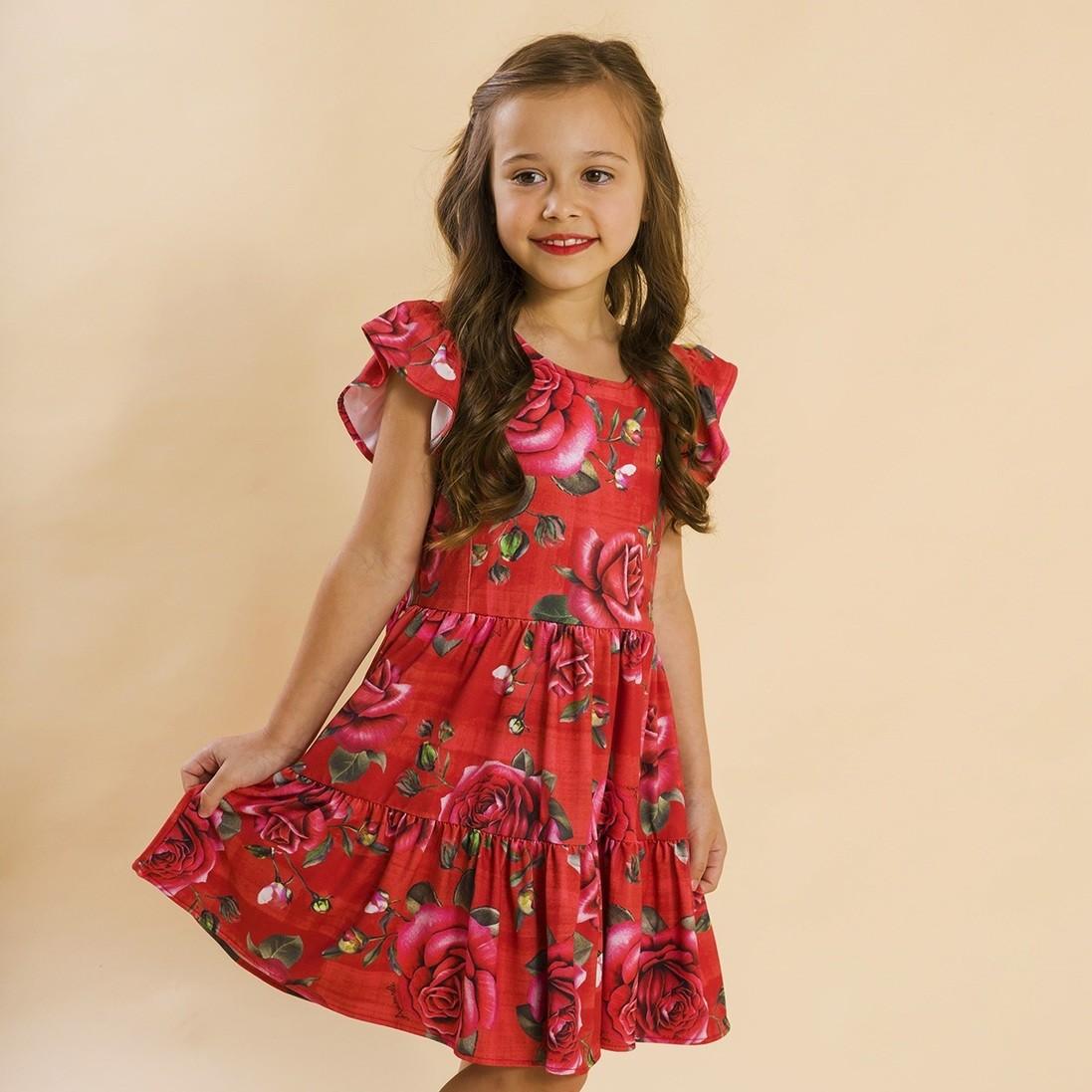 Vestido Malha Franzido Rosas Vermelho