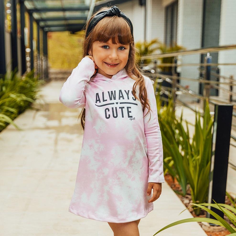Vestido Moletinho Tie dye Rosa Infanti
