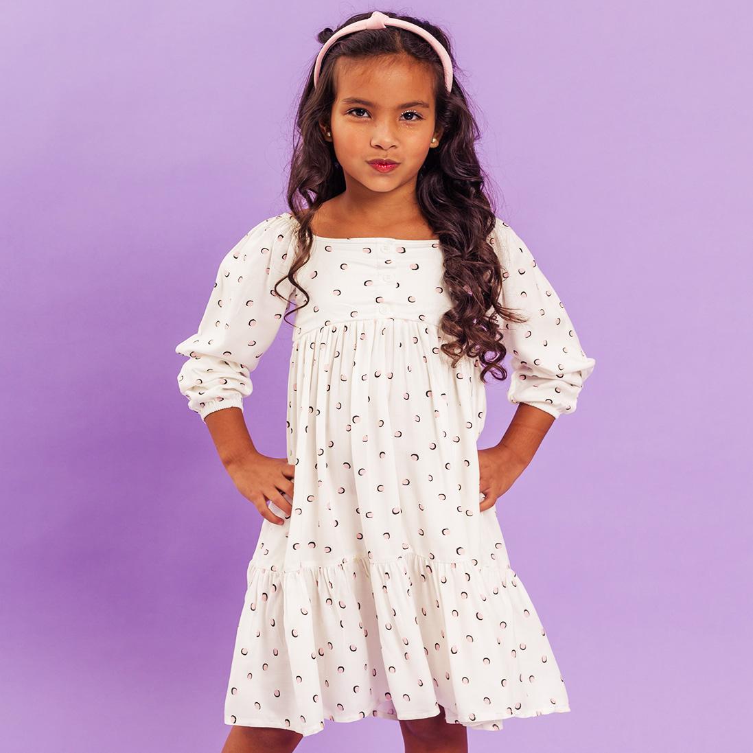 Vestido Viscose Franzido Poá Branco Infanti