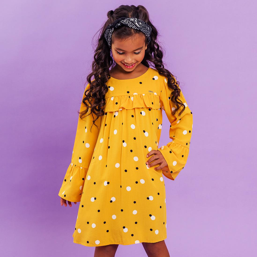 Vestido Viscose Poá Amarelo Manga Longa