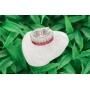 Anel Innovation Rubi e Cristal Leitoso - Ródio Branco
