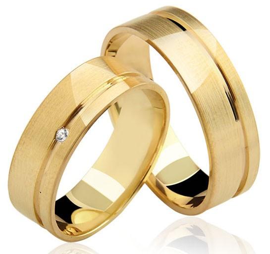 Aliança de Ouro 18K 4mm e 5 Gramas com Diamante Casamento