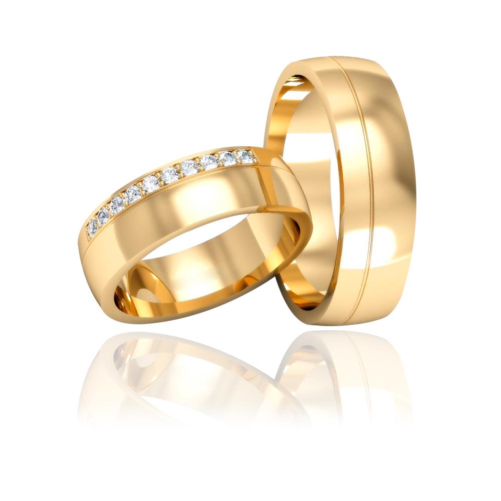 Par de Alianças de Casamento Trípoli Ouro 18K
