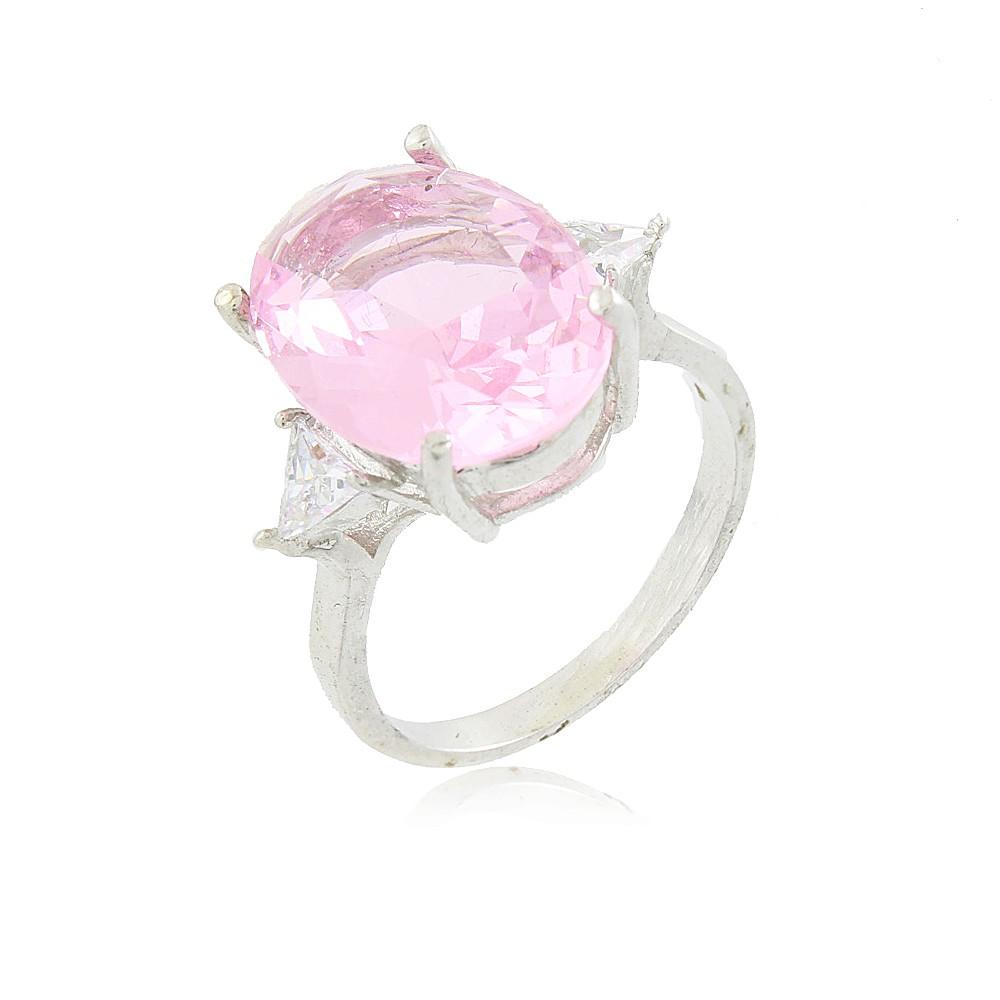 Anel Aline Pedra Cristal  Rosa