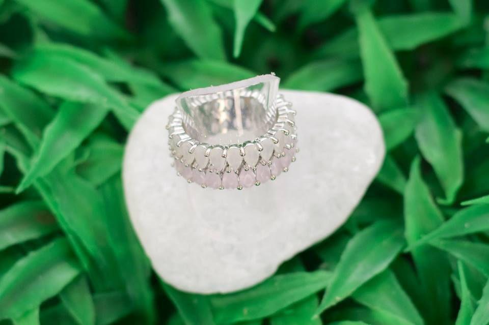 Anel Innovation Quartzo Rosa e Cristal Leitoso- Ródio Branco
